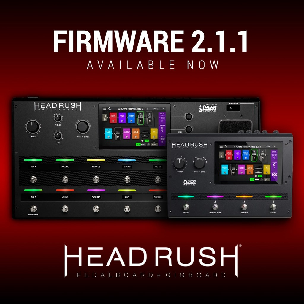 HeadRush 2.1.1 verziószámú firmware update